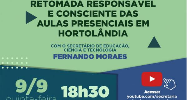 Retomada das aulas presenciais em Hortolândia será tema de encontro virtual, nesta quinta-feira (09/09)